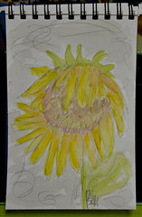 Sending Sunshine (BKHagar *Kim*) Tags: bkhagar sketch drawing art artwork watercolor watercolour sunflower sunshine