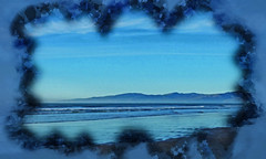 The Pacific and the Port Hills (Steve Taylor (Photography)) Tags: porthills digitalart blue black monocolor monocolour newzealand nz southisland canterbury christchurch northnewbrighton waves surf seaside sea pacific ocean beach border texture cloud sky