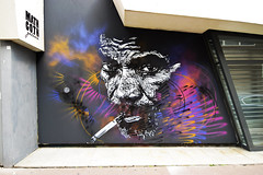 Perdus de vue (HBA_JIJO) Tags: streetart urban graffiti pochoir c215 stencil paris art france hbajijo wall mur painting peinture portrait galeriemathgoth urbain cigarette
