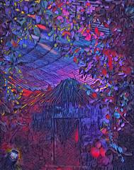 Brave New World (Rollingstone1) Tags: apeman neon jungle city world kinks vivid colour hut trees ape art artwork