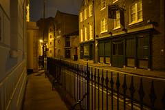 Captain Kidd, Wapping (davidvines1) Tags: pub street night railings wapping london