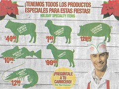 Day After Christmas - Got Your Goat (ramalama_22) Tags: day after christmas food ad spanish language baby goat cabrito beef head cabeza res sheep borrego whole pig hog lechone entero bacalao dried cod fish camaron shrimp fiesta party holiday carnicero butcher dead animal meat store carne suckling seco goatmas new year rich diversity specialized product lamb spleen prune helper body part orange county california