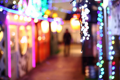 Yokocho (Elios.k) Tags: horizontal outdoors people oneperson man walking pedestrian figure silhouette dof depthoffield focusinforeground backgroundblur bokeh shallowfocus defocused colourful lights christmaslights decoration alley night yokocho harmonicayokocho bar restaurant izakaya goingout entertainment street colour color travel travelling december2017 vacation canon 5dmkii photography hachinohe aomoriprefecture tōhokuregion tohoku honsu asia japan