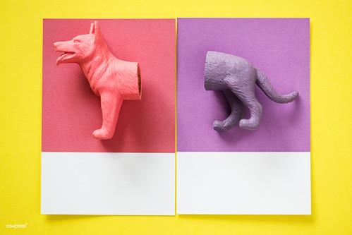 Color miniature dog figure model