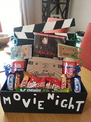 Basket Gifts : Fun family date night idea- painted shoebox, funky straws, mini chocolate bars a… (giftsmaps.com) Tags: gifts