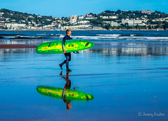 Reflecting on last week (JKmedia) Tags: colourful 2018 devon paignton preton surfer boultonphotography coast beach blue reflections surfboard person candid torquay englishriviera walk walking sand wet