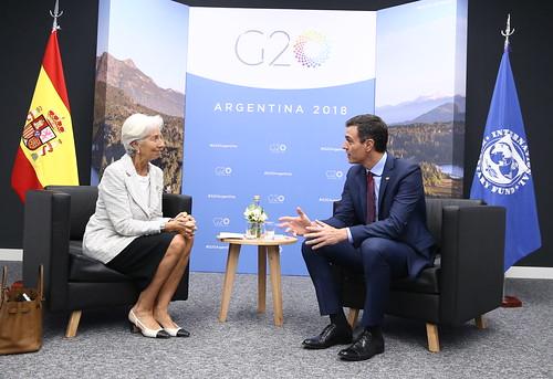 Pedro Sánchez se reúne con la directora del Fondo Monetario Internacional, Christine Lagarde (30/11/18)