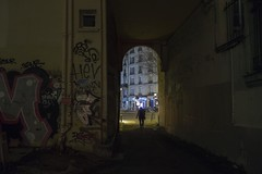 . (Le Cercle Rouge) Tags: paris france belleville darkness human shadow youllneverwalkalone 75020 night nuit graff graffiti tag streetart courdelamétairie