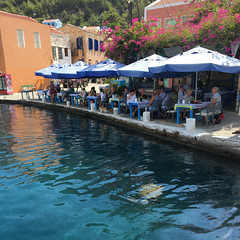 Have a lunch and watch the turtles (VillaRhapsody) Tags: restaurant water sea mediterranean turtle greece island meis kastellorizo cyunanimous challengeyouwinner