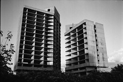 Twin towers (vladixp) Tags: 200 xtol praktica mtl5 mc flektogon 24 35 hoya hmc k2 foma fomapan d76 20c pf7250u 3600dpi 35mm yellowfilter filmscan bw bwfilm film filmphotography negative scanned sofia bulgaria