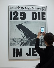 Andy Warhol, 129 Die in Jet! (chrisjohnbeckett) Tags: warhol andywarhol art popart disaster death newspaper museum gallery whitneymuseumofamericanart whitney smartphone photograph photographer copy newyork nyc chrisbeckett fujifilmx100f cellphone
