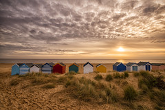 Beach Life (Tracey Whitefoot) Tags: 2019 tracey whitefoot suffolk southwold beach hut huts east anglia sunrise dawn sand empty winter coast coastal sea low tide sky clouds life colourful colorful bright sunshine warm tones