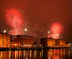 Royal Albert Dock Fireworks (Colin__Murray) Tags: liverpool uk england mersey merseyside fireworks royal albert dock water building listed sky red green cloud smoke reflection scenic lights night explode pyrotechnic fawkes guy display exothermic chemical rocket bonfire
