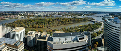 Panoramic view of Washington DC from Observation Deck at CEB Tower Rosslyn VA (mbell1975) Tags: arlingtoncounty virginia unitedstates us panoramic view washington dc from observation deck ceb tower rosslyn va washingtondc usa america arlington panorama vista pano potomac river water monument memorial aerial city skyline roosevelt island fall autumn color colors colour colours tree trees leaves leafs