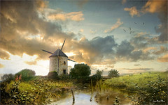 In the wind (Jean-Michel Priaux) Tags: quern mill grinder bretagne paysage landscape france river priaux wind tower nature technology autrefois paint painting poetry sunset light lumix g81 moulin mattepainting matte sky blade vane pitoresque pittoresque picturesque quaint