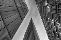 Looking up... (Aleem Yousaf) Tags: architecture london more riverside monochrome black white long exposure 1835mm wide angle morning sky clouds drag glass steel modern building gotham city cityscape ey sharp lines geometric tower nikon nikkor d810 photography absoluteblackandwhite pretty digital camera world outside