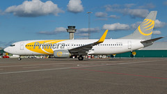 Primera Boeing 737-800. (spencer_wilmot) Tags: primera pfpri pf pri primeraair 737 737800 737ng b738 b737 738 boeing boeing737 winglets gothenburg got esgg landvetter airside aviation aircraft airplane airliner airport departure apron commercialaviation civilaviation jet jetliner plane passengerjet sideon clouds sweden ramp controltower taxiway twin oypsa 7378q8