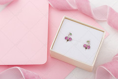 Cherry shaped earrings with crystals in gift box on pink envelope background with copy space (Aleksa Torri) Tags: background baby girl fashion accessory cute earrings gift jewelry kids design elegance child children little small ear pastel stilllife object nobody female shape silver tender woman tiny romantic present birthday copyspace holiday white shopping sale summer box colorful greeting package packing store surprise cherry berry crystal diamond pink envelope card