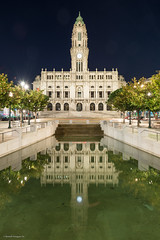 City hall of Porto (Benoît Penquerc'h) Tags: night eau d800 water reflections pauselongue nuit portugal voyage tourisme travel 2470 porto monument hôteldeville cityhall bassin architecture