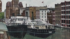 """SHIP Milwaukee Harbor WI c.1907 2 Goodrich Transportation Line Steamer Excursion Ferrys including the SS SHEBOYGAN of MILWAUKEE at the Company Docks in Downtown Milwaukee-- (UpNorth Memories - Donald (Don) Harrison) Tags: vintage antique postcard rppc """"don harrison"""" """"upnorth memories"""" upnorth memories upnorthmemories michigan history heritage travel tourism restaurants cafes motels hotels """"tourist stops"""" """"travel trailer parks"""" cottages cabins """"roadside"""" """"natural wonders"""" attractions usa puremichigan """" """"car ferry"""" railroad ferry excursion boats ships bridge logging lumber michpics uscg uslss"""