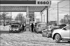 76.8 per Litre - Jan 30 2015 (Dan Dewan) Tags: dandewan winter photographist gasprice blackwhite canada bw ontario canonef50mmf14usm 2015