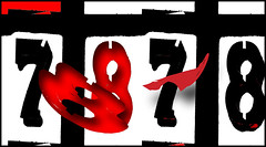 Sevens and eights (Bob R.L. Evans) Tags: seven eight numbers abstract red black unusual composition 7 8 87 irreverent imperfect