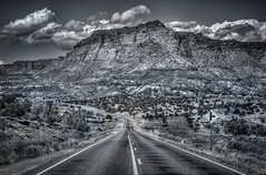 Utah State Route 24 near Chimney Rock (donnieking1811) Tags: utah torrey fruita capitolreefnationalpark capitolreef nationalpark park utahstateroute24 chimneyrock mountains highway road trees signs outdoors clouds sky blackandwhite bw hdr canon 60d lightroom photomatixpro