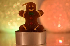 Gingerbread cookie...? ;-) (Maria Godfrida) Tags: smileonsaturday curiouscandles gingerbreadcookie bokeh light lamps closeup funny psp