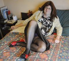 Are you looking up my skirt? (petra fluffy tart) Tags: petra fluffy tart mohair satin heels blackpantyhose redhead upskirt