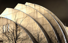 Casting a New Light (KC Mike Day) Tags: architecture light cast arts performing center kauffman trees winter cold evening arch arches silver white black gleam