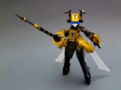 Honeylance Miel (Djokson) Tags: bee wasp hornet insect bug girl buggirl insectgirl wings lance yellow black gold djokson lego bionicle moc toy model