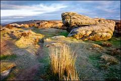 A new day begins on Baslow edge (G. Postlethwaite esq.) Tags: baslowedge derbyshire unlimitedphotos clouds dawn fields grass heather landscape outdoor photoborder rocks sky sunrise trees peakdistrict
