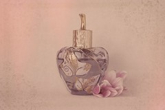 Perfume (Anikó Lázár) Tags: smileonsaturday perfume bottle gold purple vintage texture overlay textured fragrance antiquelook