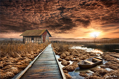 Passage (Jean-Michel Priaux) Tags: paysage landscape way road terrific sky clouds sunset painting paintingmatte paintmapping cabane lonely lonesome alone path pathway photoshop sea water savage reflect
