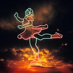 Sky skater (sonofwalrus) Tags: holga film lom lomography scan skater neon sunset sun clouds dusk light darkness doubleexposure 2x multiexposure orange skating sky skyskater crossprocessed xpro