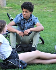IMG_0466 (Skinny Guy Lover) Tags: outdoor people candid guy man male dude denimjacket grass field sitting sit seated group youth girl handsome
