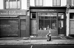 Dear Liberty (stephen cosh) Tags: 35mmsummicron analogue blackandwhite candid delta400 film ilfordddx leicam7 london monochrome stephencosh street streetphotography england unitedkingdom gb