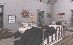 No Trespassing (Rose Sternberg) Tags: second life deco decor home garden bee designs urban bedroom gacha key bed rare table books cds sofa cushions bottle glasses wine route 66 sign dead en no trespassing uk wall clock rug frame