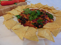 Mexican food (amy's antics (Away for a while)) Tags: wah wearehere chilli coriander chips peppers beans mexican food dinner vegan