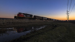 Widecab at Dusk (Seven Tracks Photography) Tags: sd402w cn5339 emd l553 local buckley loda illinois il dusk railroad cn canadiannational chicagosubdivision manifest mixedfreight photography power locomotive outdoor ic illinoiscentral train railfan railfanning