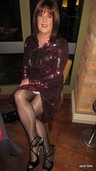 No standing (janegeetgirl2) Tags: transvestite crossdresser crossdressing tgirl tv ts trans jane gee lff leeds first friday glitter split dress heels highheels shine gloss tights black cosmopolitan hotel