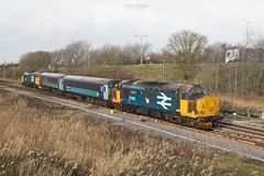 37403 trails from Great Yarmouth working 2P21 1317 to Norwich 17/1/2019 (Paul-Green) Tags: class 37 374 37403 37407 gt yarmouth norwich 2p21 2019 jan aga abello greater anglia passenger train uk gb railways flickr canon camera stock great diesel engine loco drs