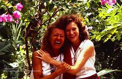 Koh Phan-Ngan, Sheena and Nana (blauepics) Tags: thailand ko koh phangan island insel beach trees palmen 1994 südostasien southeast asia women frauen lachen laughing happy fröhlich blumen flowers