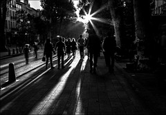 Soleil couchant sur la ville... / Sunset over the city... (vedebe) Tags: lumière soleil rayons people humain human ombres ville city rue street urbain urban noiretblanc netb nb bw monochrome nuit