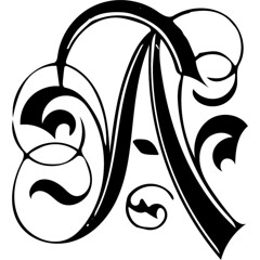 "Heavily Ornate Letter ""A"", vectorized version (sjrankin) Tags: 19november2018 edited scanned library internetarchive artofillumination alphabet character letter illuminated historic vector vectorized grayscale a"
