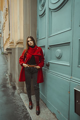 The End of Fall (Michela Riva Photography) Tags: rainyday coat fashionphotography redcoat beautifulwoman model umbrella moody cinematic winter fall autumn city girl fashion female onepersonyoungadult youngwomen europe italy emotional outdoors beautiful rain fashionable longhair oldcity blueeyes