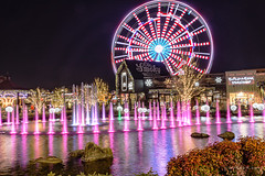 A Fountain and a Ferris Wheel (Back Road Photography (Kevin W. Jerrell)) Tags: theisland pigeonforge tennessee seviercounty nikond7200 colorful nightphotography nightshots backroadphotography winter christmas ferriswheels fountain