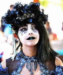 Dark Fairy (wyojones) Tags: texas texasrenaissancefestival toddmission texasrenfest renfest renfaire renaissancefaire faire renaissancefestival festival trf beauty girl woman fairy beautiful pretty lovely gorgeous cute brunette blueeyes dress hat collar facepaint blacklips