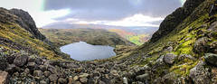 Stickle Tarn Panorama (Chas Pope 朴才思) Tags: 2018 england lakedistrict langdalepikes langdales thelakes fells iphone mountains stickletarn paveyark harrisonstickle panorama