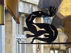 photo - Salamander Wrought Iron Sign, Sarlat, France (Jassy-50) Tags: photo sarlat perigord france salamander sign ironsign wroughtironsign metalsign hangingsign sarlatlacaneda unescotentative